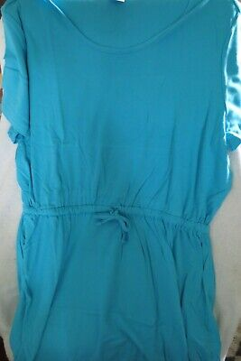 CW Women Short Sleeve Solid Knit Dress Color Turquoise 2X New  - Solid Knit Short