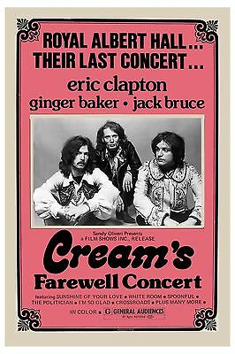 Eric Clapton & Cream * Farewell Concert * Royal Albert Hall Poster 1969  12x18