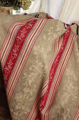 Antique French woven damask ticking floral + stripe fabric Napoleon III c1870