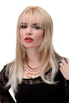 Perücke Blond Erdbeerblond-Platinblond glatte Haare Pony ca. 55cm - Platin Blonde Perücke