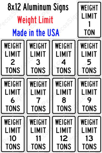 Weight Limit Signs 8x12 Aluminum w/Your Choice of Weight Made in USA UV Protectd