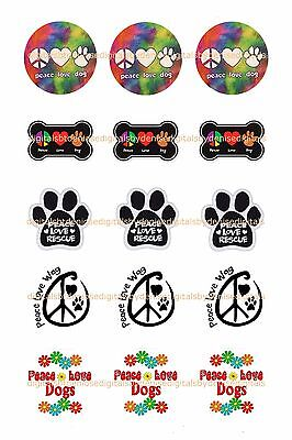 "PEACE LOVE DOGS bottlecap images,   15 precut 1"" CIRCLES *****FREE SHIPPING*****"