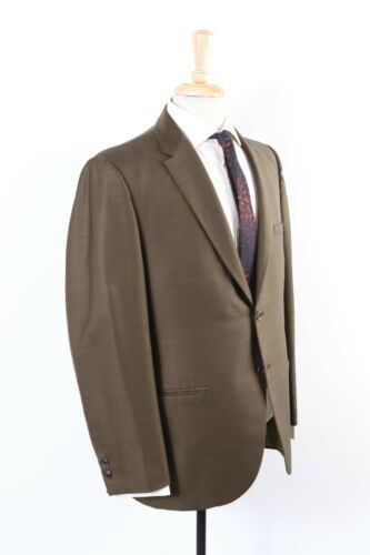 Vintage 60s Slim Skinny Green Sharkskin Wool 2 Button Suit USA Mens Size 38