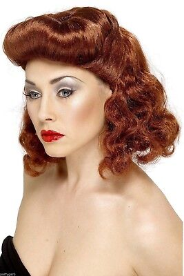 Auburn Red Pin Up Girl Wig 40s Glam Vintage WWII Era 50s Housewife Barrel - Pin Up Wig