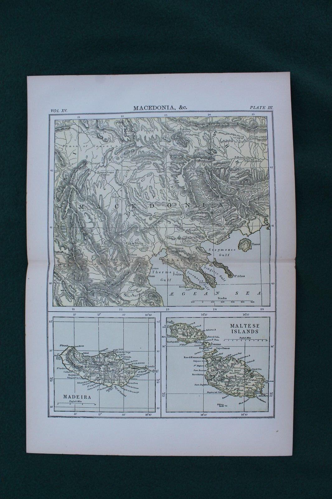 1890S MAP  MACEDONIA MADEIRA MALTESE ISLANDS  10 X 14 INCH