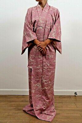 Authentic traditional vintage Japanese komon silk kimono