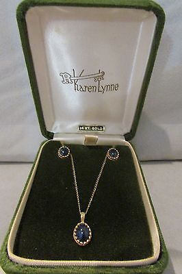 14 KT Gold Karen Lynne Matching Earrings and Pendant set with Gold Chain in Box