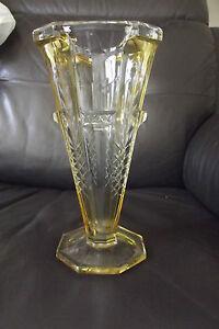 Ancien vase en verre cristal taille a pans de val st lambert art deco ebay - Vase ancien en verre ...
