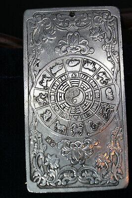 5 CM China Miao Silver Counteract Evil Force Zodiac Animal Dragon Amulet Pendant