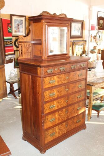 Victorian Walnut Gentlemens Dresser with Hat Box