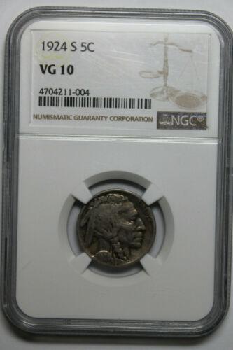 1924 S NGC VG10 Buffalo nickel