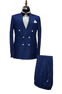Hombre Azul Real Trajes de Diseño Boda Informal Elegante Cena (Abrigo+Pantalón)