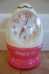 Vintage Citizen Rhythm Talking Rooster Call Anime Japanese Egg Alarm Clock EUC!