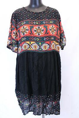 boohoo Women's Plus Matilda Retro Print Midi Dress SV3 Black Size US:14 NWT