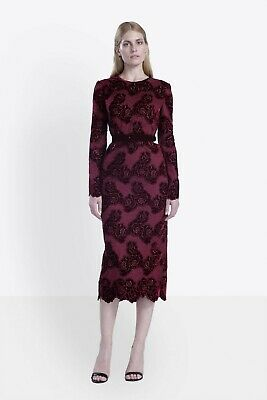ISABEL GARCIA Red Bordeaux Velvet Embroidered Floral Lace Midi Sheath Dress XS 2