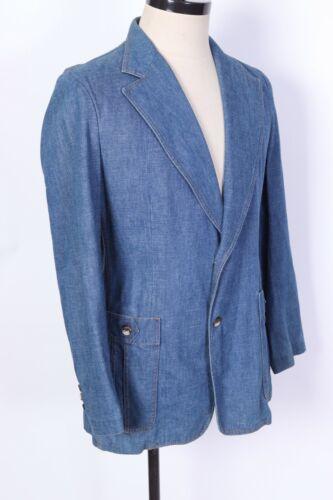 Vintage 70s LEE Denim Suit Coat Jacket Blazer USA Mens Size 44 Long
