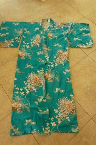 Vtg  Traditional Japanese KIMONO Robe Turquoise  Floral
