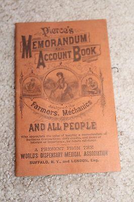 Vintage Original 1909 1910 Pierce's Memorandum and Account Book - Blank