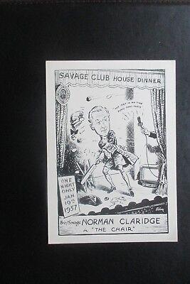 1957 THE SAVAGE CLUB CARD  HARRY RILEY CARTOON  HAROLD RILEY NORMAN CLARIDGE