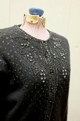 80s Sweatshirts, Sweaters, Vests | Women Black Beaded Cardigan LARGE Vintage 1960s-80s SZ 46 $51.23 AT vintagedancer.com