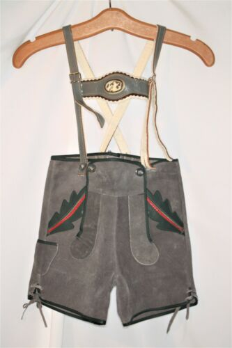 Vintage Kids European Loden Lederhosen Mountain German Leather Shorts