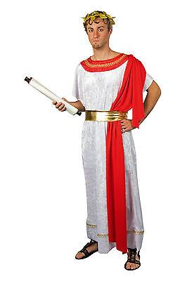 mer - Mann Toga weiß rot Tunika Karneval Kostüm Fasching neu (Mann Toga Kostüm)