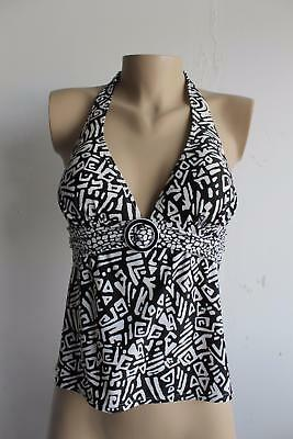 (Croft & Barrow Black White Geometric O Ring Halter Tankini Top Size 8)