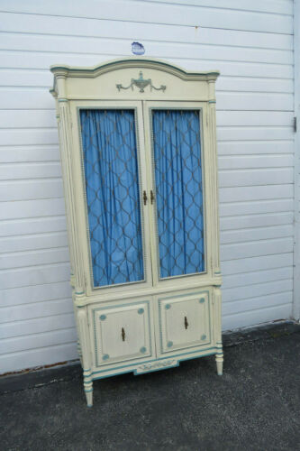 French Painted Two Part Armoire Wardrobe Cabinet by Cellini Furniture 1191