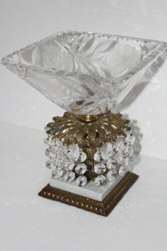 Vintage Cut Crystal Bowl Brass Marble Base
