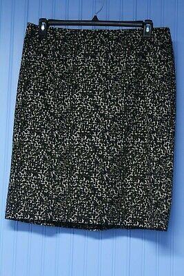 Ann Taylor dark animal print stretch lined pencil skirt  size 14