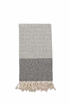Diamond Pattern Black & Cream Turkish Towel, Oversized Bath