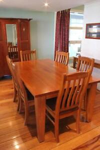 Solid Timber 6 Seat Dining Table and Chairs