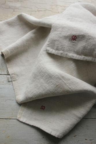 Pair of Antique European Nubby Linen Towels B Monogram