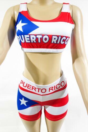 PUERTO RICO FLAG YOGA SHORTS AND SPORTS BRA
