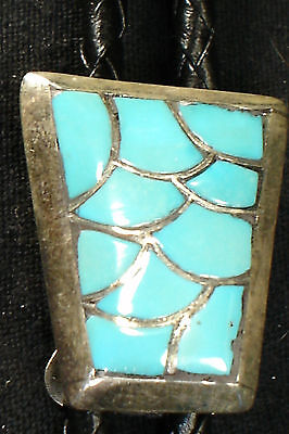 SIGNED ZUNI STERLING SILVER TURQUOISE INLAY BOLO TIE DEAD PAWN NATIVE AMERICAN