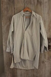 Vintage french men 39 s shirt striped button down chore work for Heavy button down shirts