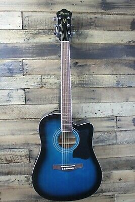 Ibanez V70CE Acoustic-Electric Guitar Trans Blue - Damaged #R3212