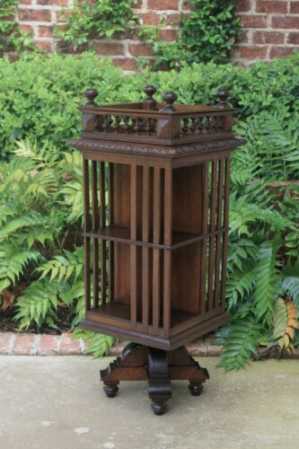 Antique English Revolving Bookcase  Bookshelf Library Arts & Crafts Oak Gallery