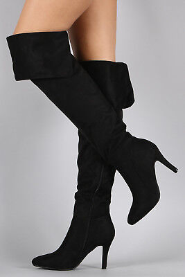 Womens Stiletto High Heel Ove The Knee Thigh Boot Pointy Toe Elastic (Womens High Stiletto Heel)
