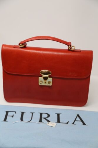 Vintage Furla Red Leather Bag Purse  w/ Dust Bag Italy