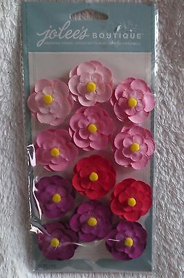 Jolee's Boutique Pink and Red Flower Dimensional Sticker 50-60436 New