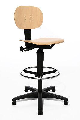 1 Holz-hochstuhl (Drehstuhl Arbeitsstuhl Werkstattstuhl Produktion Topstar Tec 11 hoch Holz B-Ware)