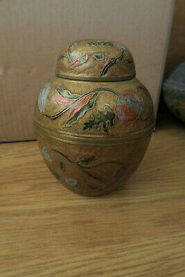 gold small hand painted asian middle eastern metal pot with floral design