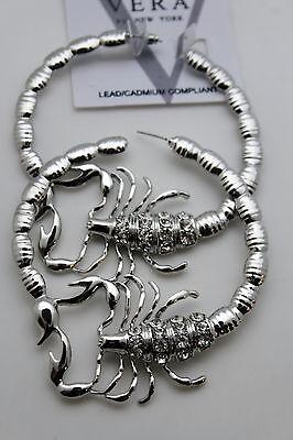 Damen Groß Creole Silber Metall Modeschmuck Ohrringe Skorpion Bling Kostüm - Große Kostüm Schmuck Ringe