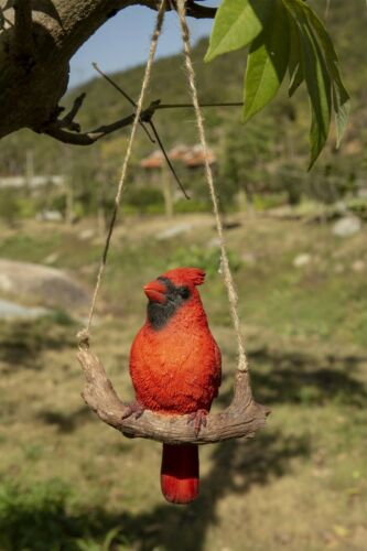 Hanging Cardinal on Branch Figurine - Life Like Figurine Statue Home Garden NEW