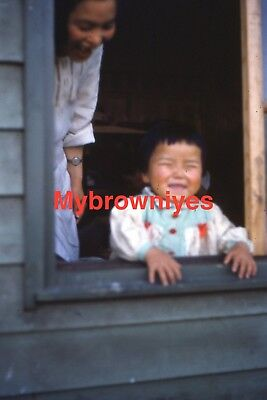 Red Kodachrome 35mm Slide - Occupied Japan House Toddler Looking out Window