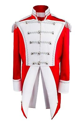 Uniform Fasching Soldat Napoleon Jacke Karnevalskostüm Party Gehrock Rot Weiß S