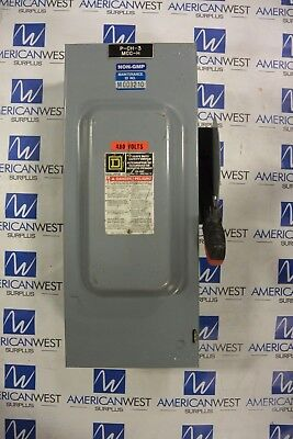 Hu363 Square D 100 Amp 600 Volt Non Fused Indoor Disconnect Switch