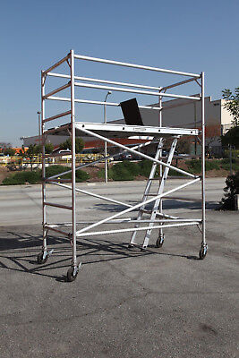 Aluminum Scaffold Rolling Tower 8 Deck H With Guard Rail Cbmscaffold