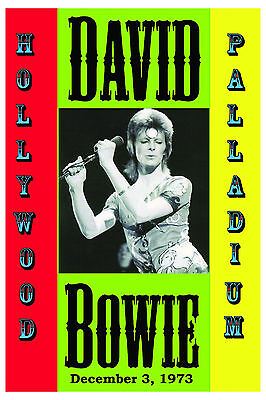 David Bowie as Ziggy Stardust at Hollywood Palladium Concert Poster 1973